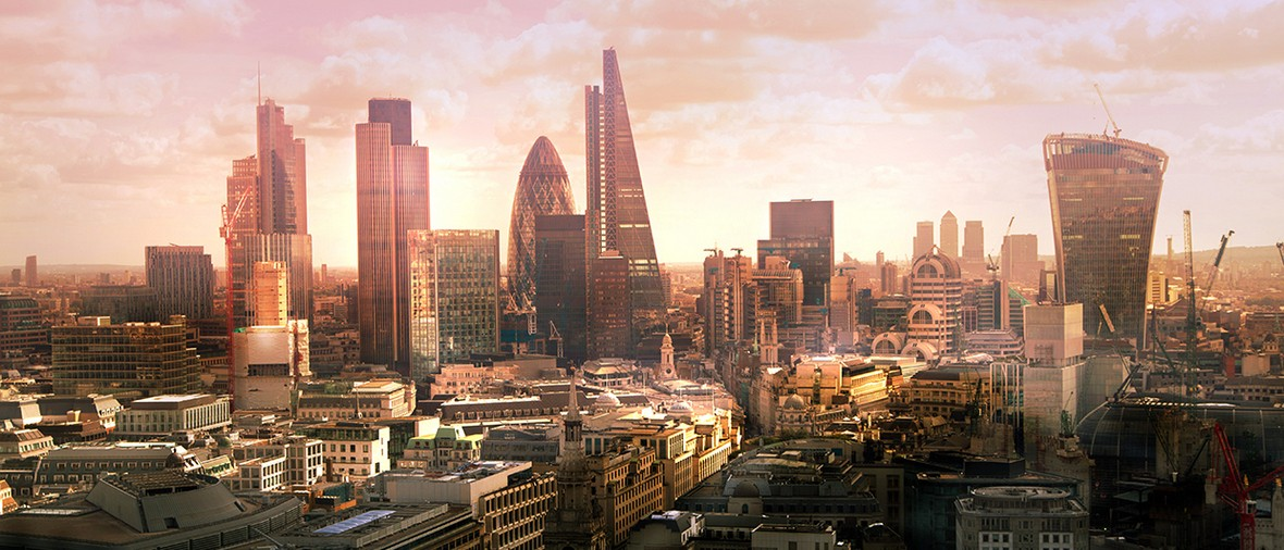 City of London. London's panorama of business and banking aria from the St. Paul cathedral