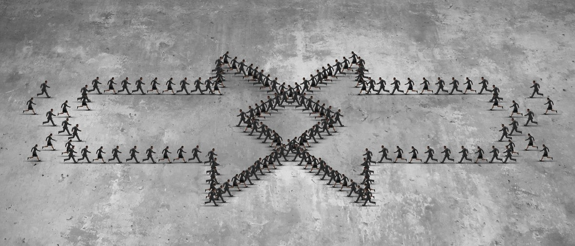 Integration concept as two groups of running people shaped as an arrow integrating together as a business metaphor for combining teams together for group success as a realistic dimensional illustration