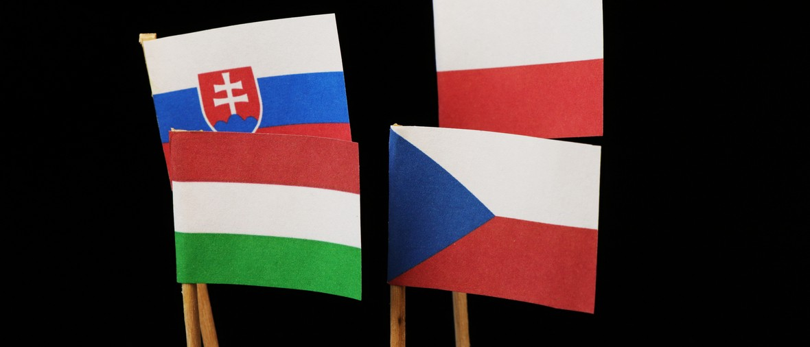 A visegrad four fighting not accepted immigrants to their lands opposite europe union. Black background