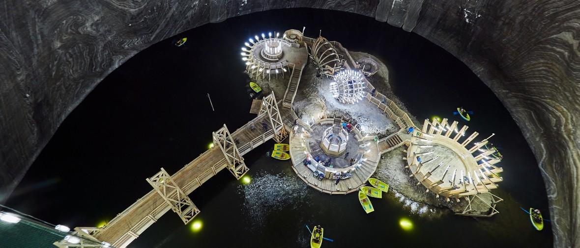 underground theme park in the spectacular salt mine in Turda county, Romania