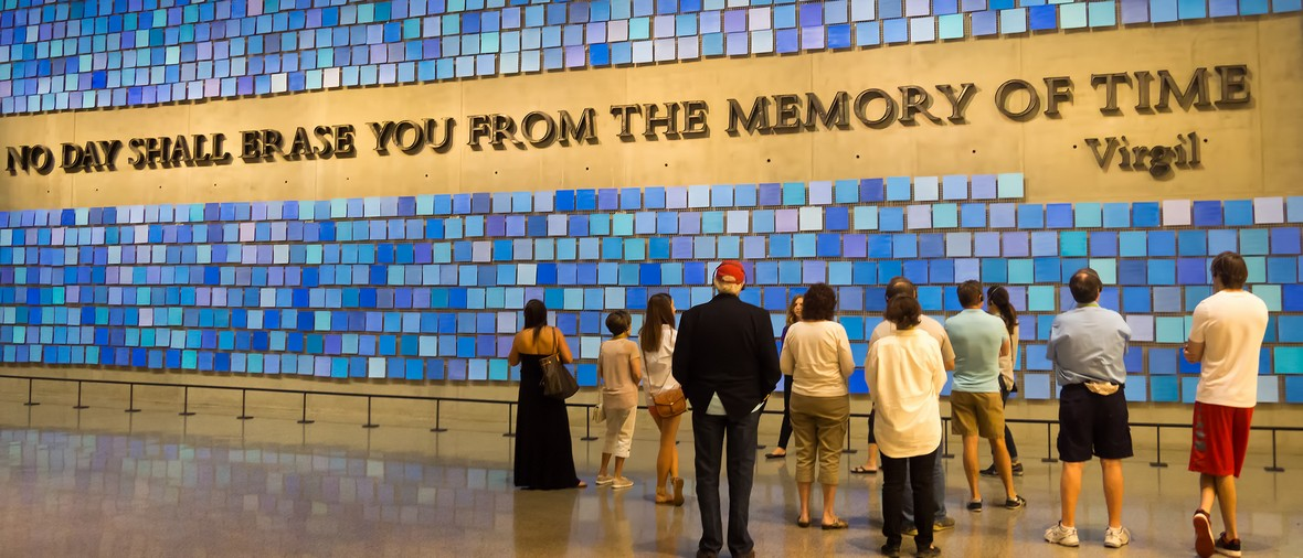 NEW YORK,USA - AUGUST 14,2015 : Visitors at the 9/11 Memorial Museum in New York City